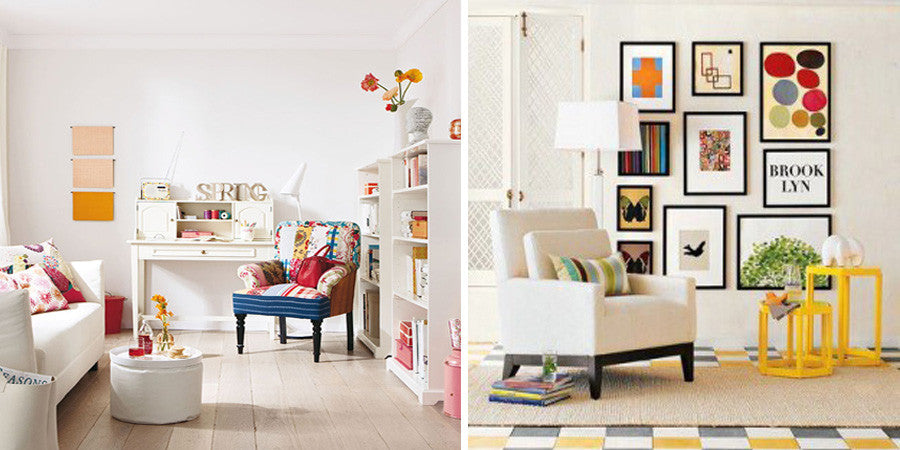 Two bright white rooms, left: white sofa, white writing desk and patchwork armchair, right: white armchair, yellow side tables and black framed wall prints