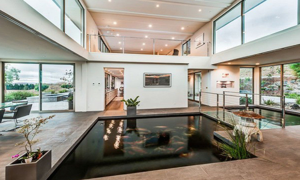 Carp pond in the middle of a home
