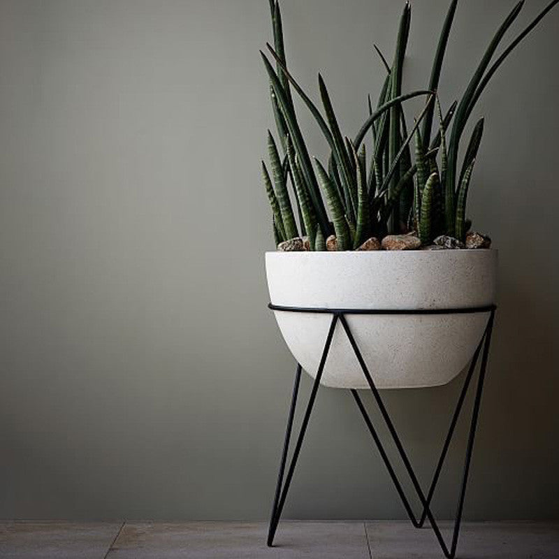 Catcus sculptural planter on a funky metal stand