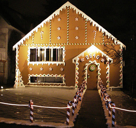 A house decorated as a gingerbread house for Christmas