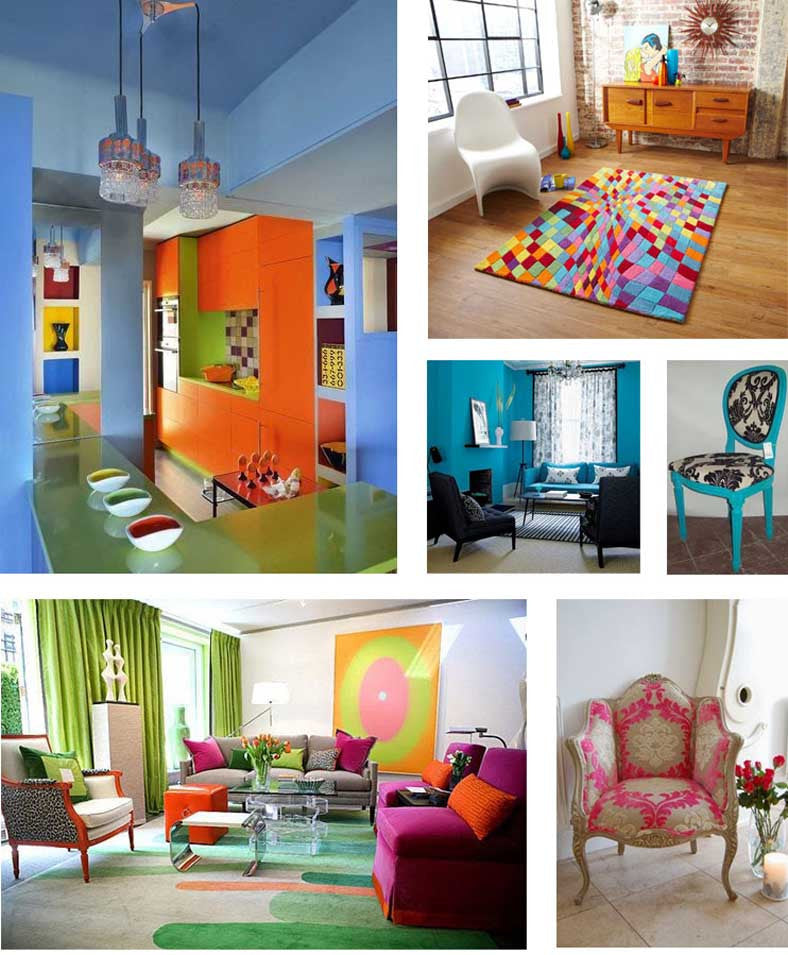 Collage of different brightly coloured living spaces, using blue, orange and green