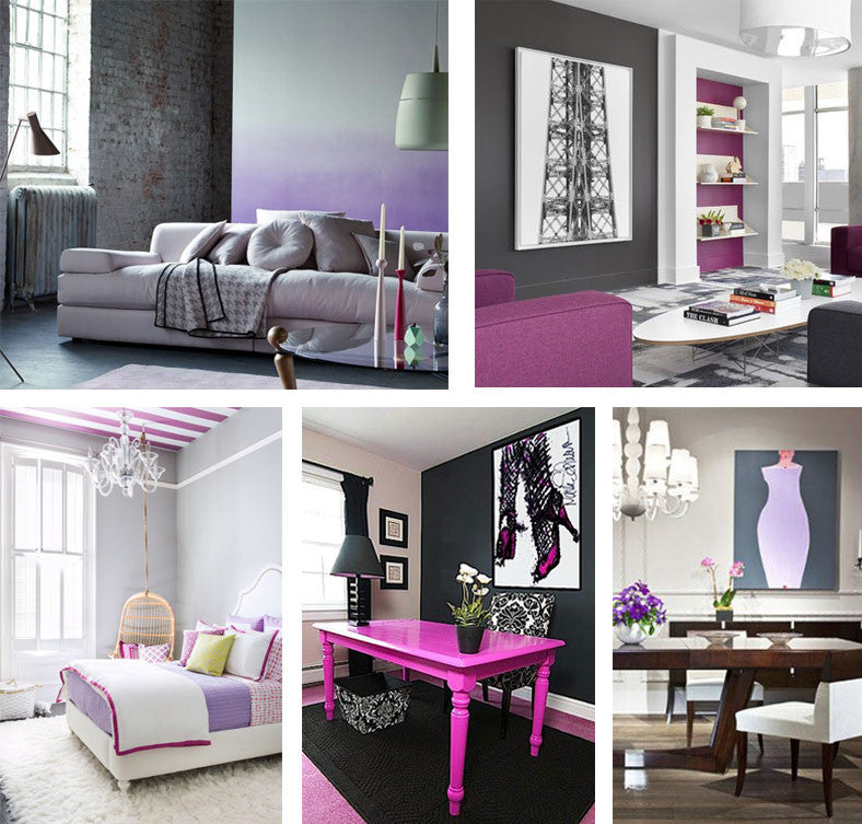 Collage of different living spaces, using grey, pink and purple