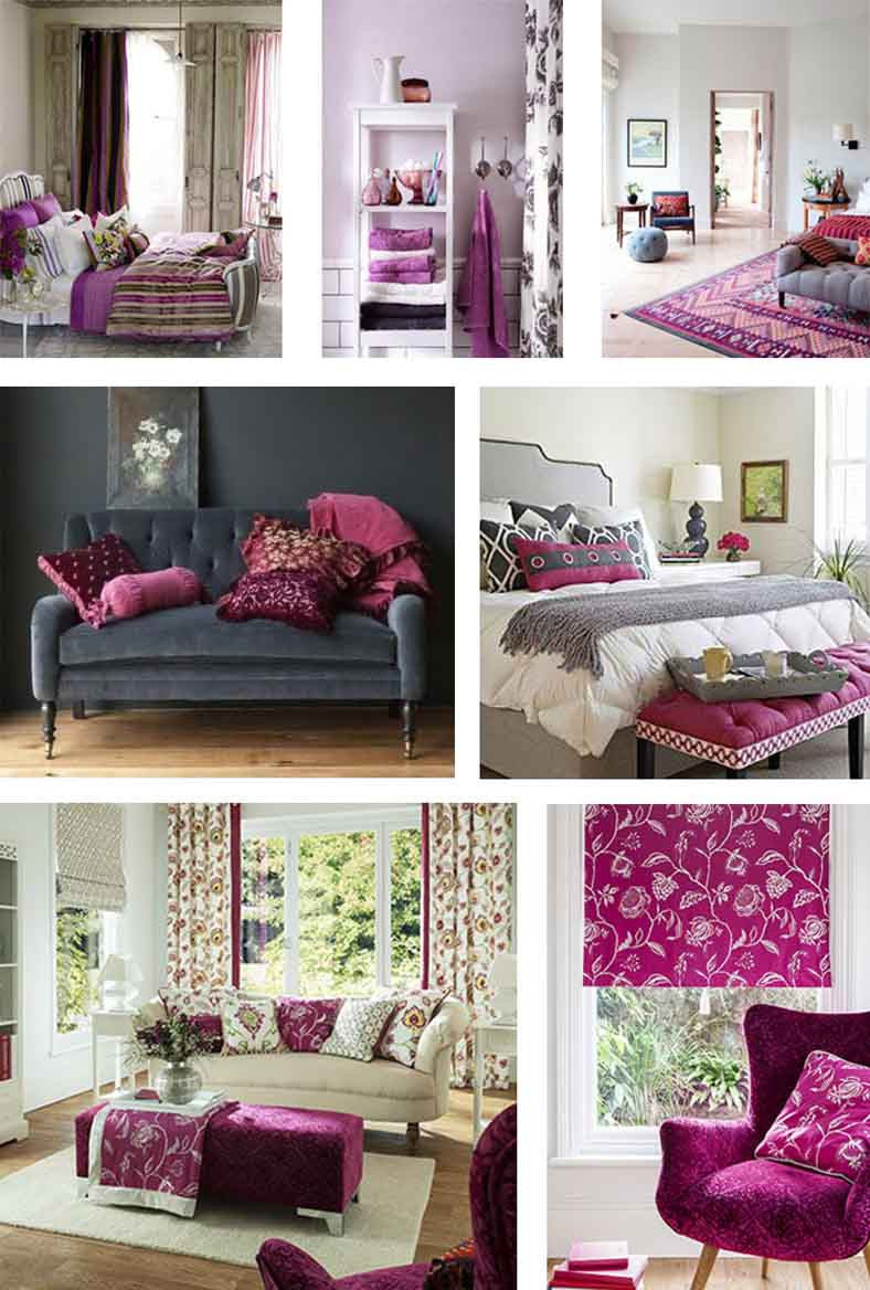 Collage of different interiors using purple, pink and dark grey
