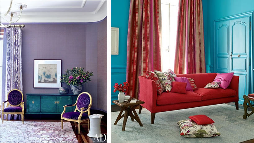 One living room in purple, the other in teal and red