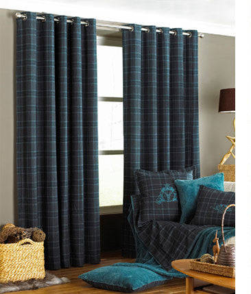 Dark blue and dark green striped eyelet curtains at a window