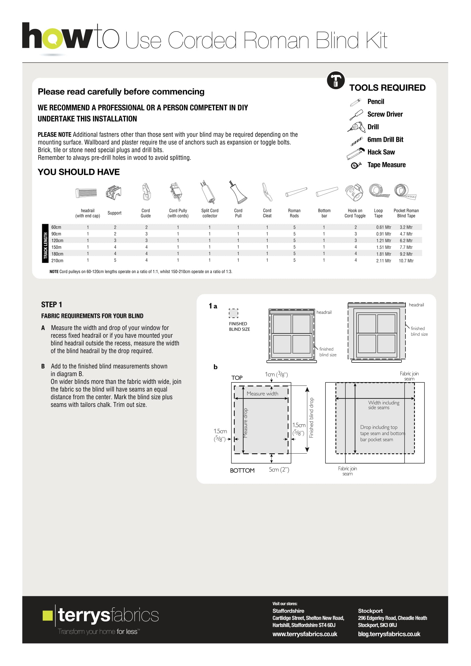 Corded Roman Blind Kit Fitting Instructions One