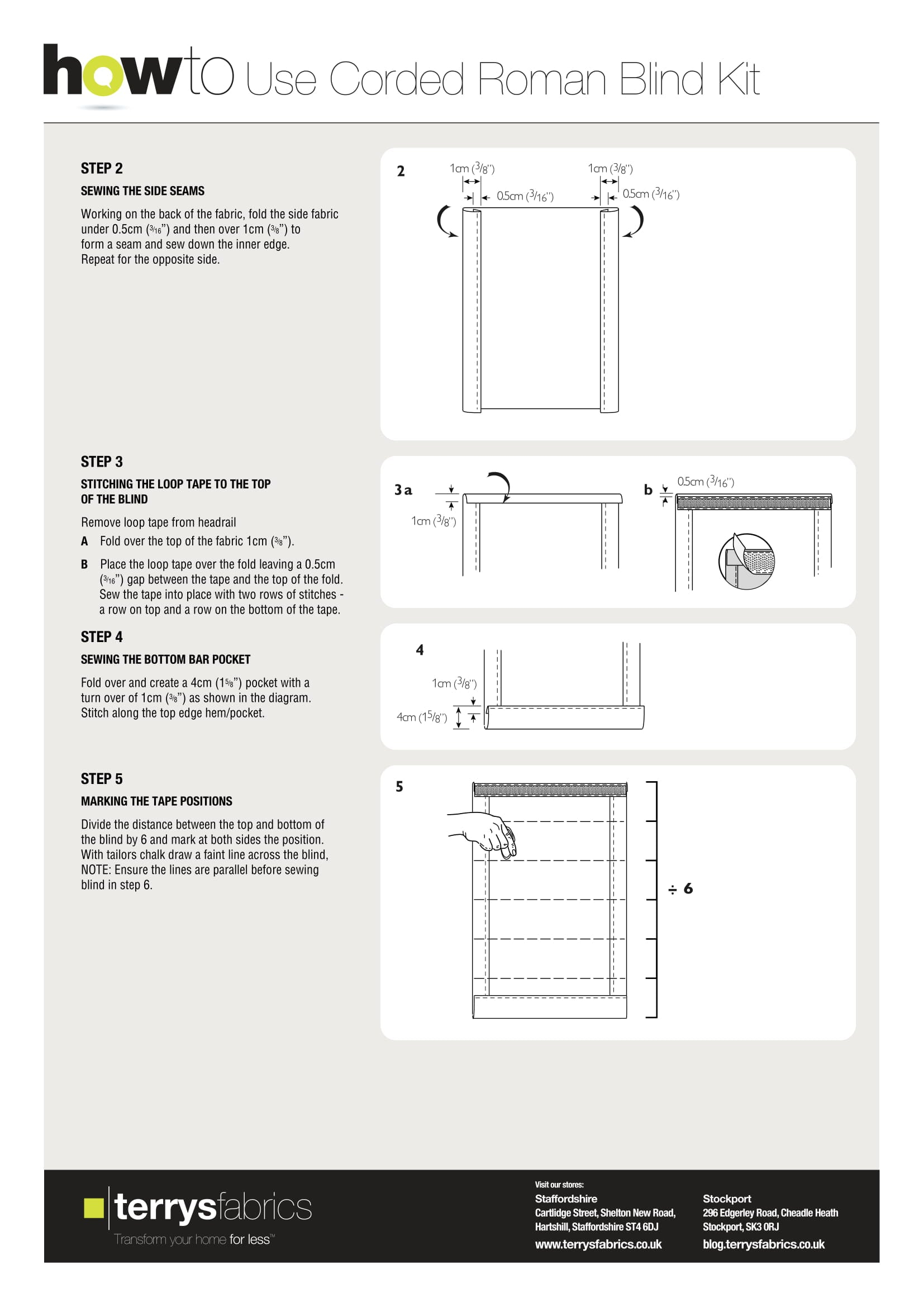 Corded Roman Blind Kit Fitting Instructions