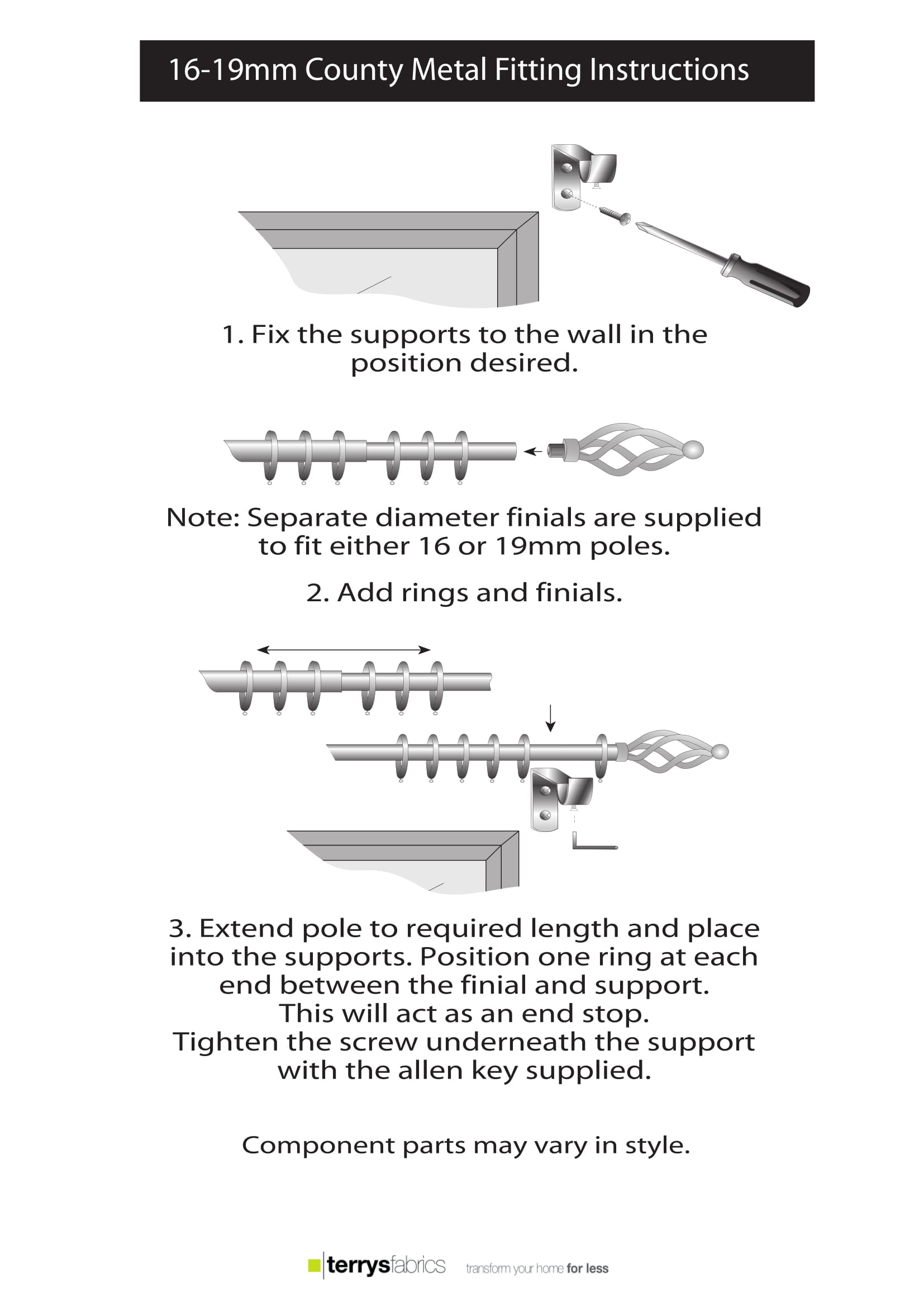 County Metal Poles Product Details And Fitting Instructions Four