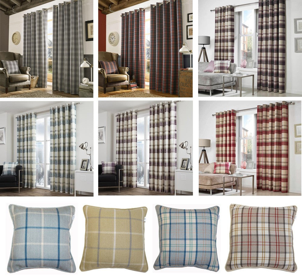 Collage of nine photos, containing curtains and cushions with checked tartan designs in different colours