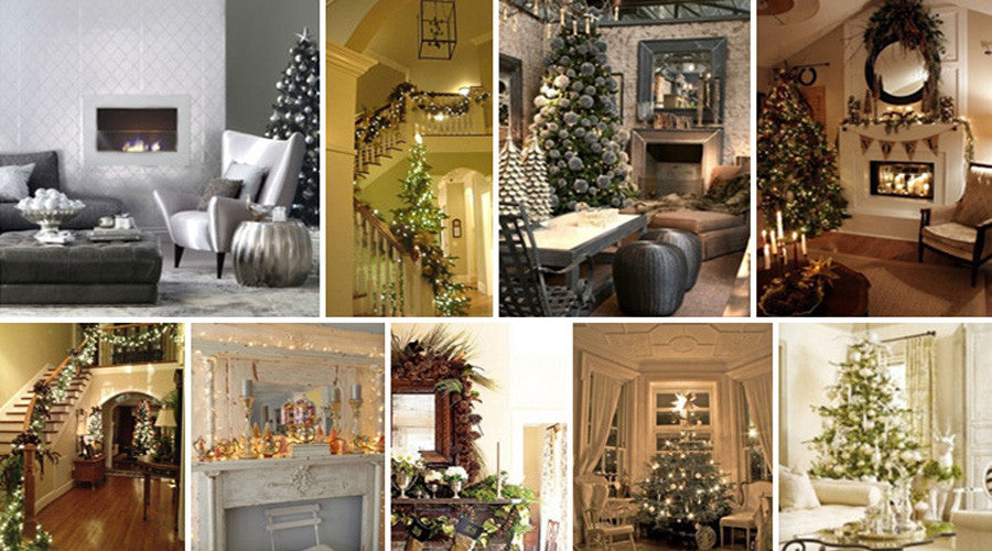 Collage of decadent living rooms with Christmas decorations