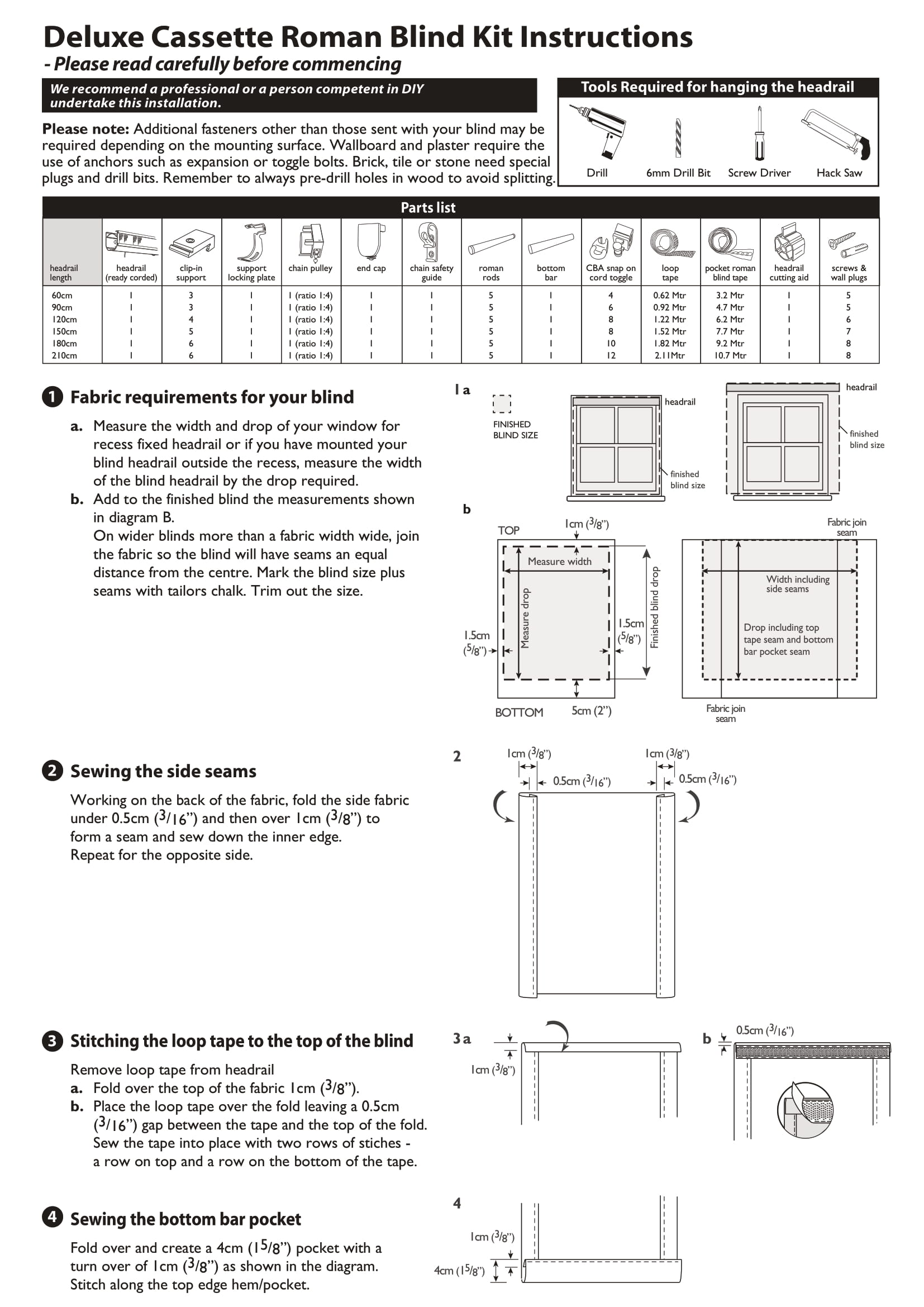 Deluxe Pvc Roman Blind Kit Fitting Instructions One