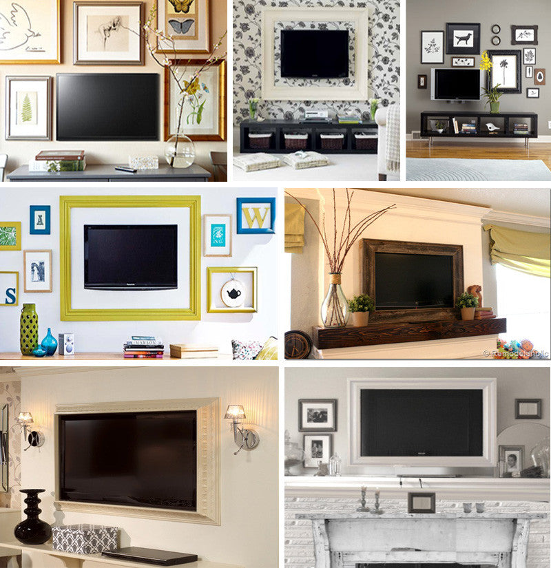 Lots of different wall mounted TVs framed with stylish picture frames