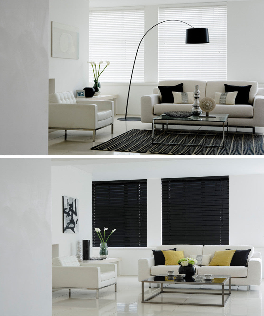 Collage of white and black venetian blinds