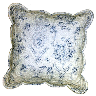 White and blue floral cushion