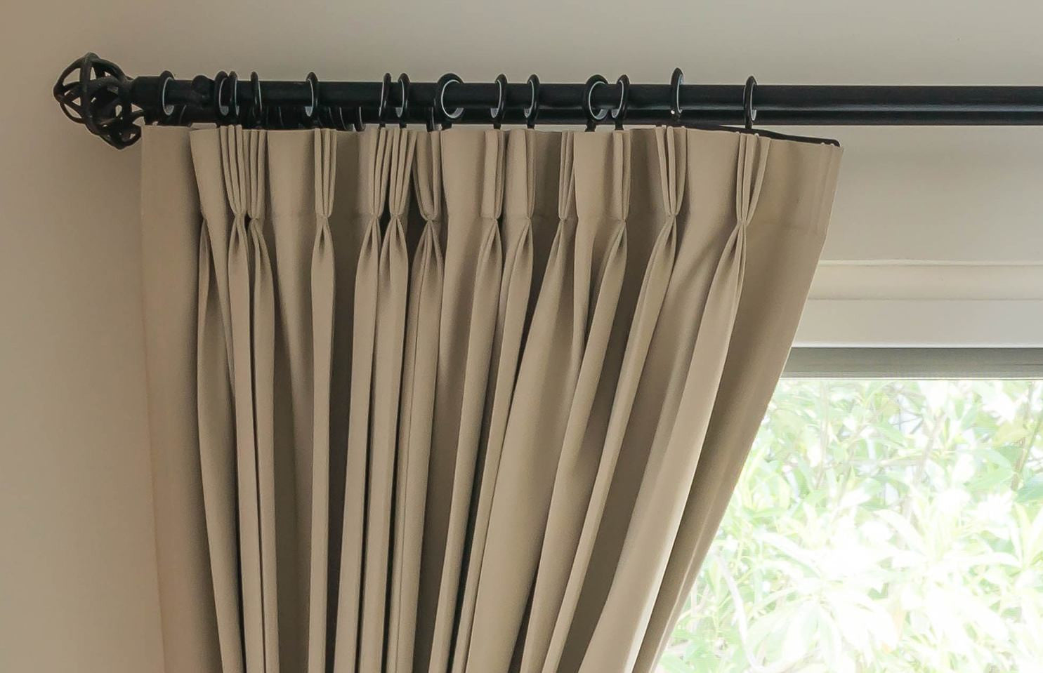 Black Curtain Pole And Curtains