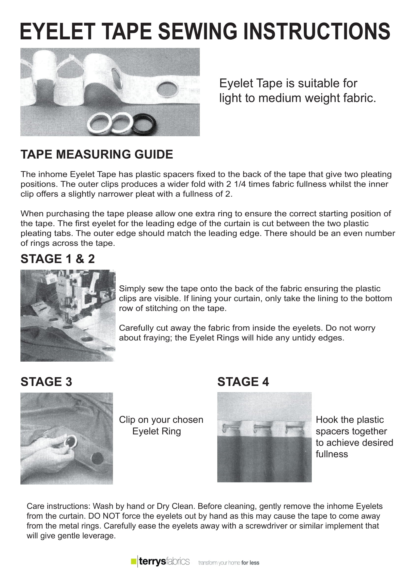 Eyelet Tape Fitting Instructions