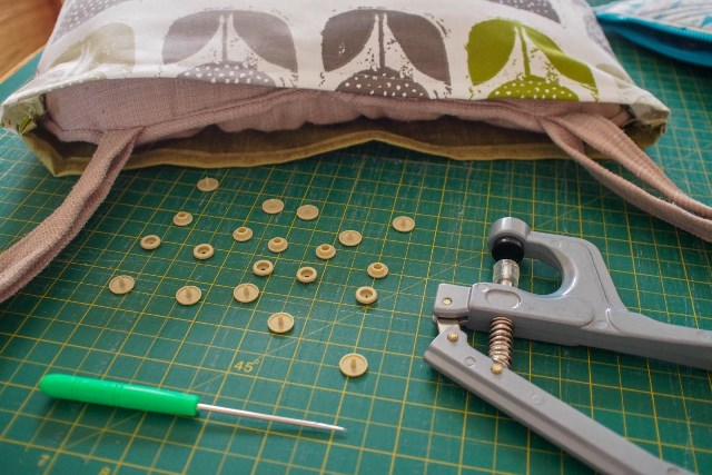 DIY fabric cushions, doing the finishing touches