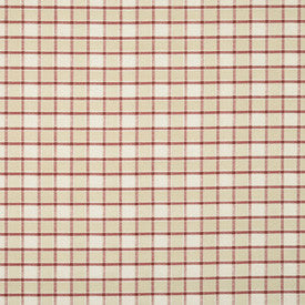 Cream and red checked fabric