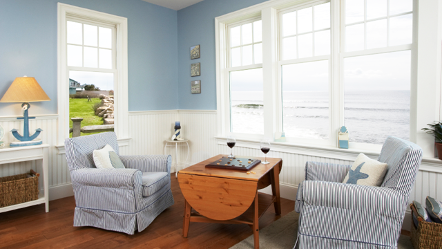 Light Blue And White Nautical Living Space, Overlooking The Sea