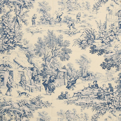 Blue and cream ornate trees and people scene, Royal Doulton style