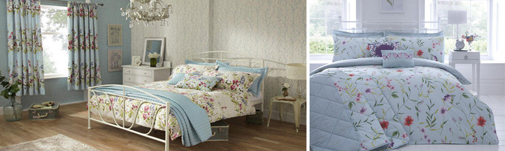 Collage of two sets of floral bedding, left is cream and right is light blue