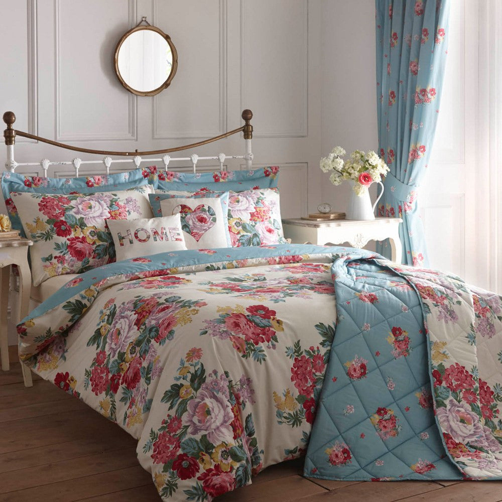 Floral Bedding In Cream, Pink And Blue