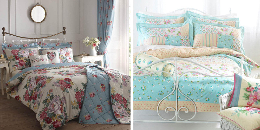 Collage of cream, light blue and pink floral double bedding on a white metal bed frame