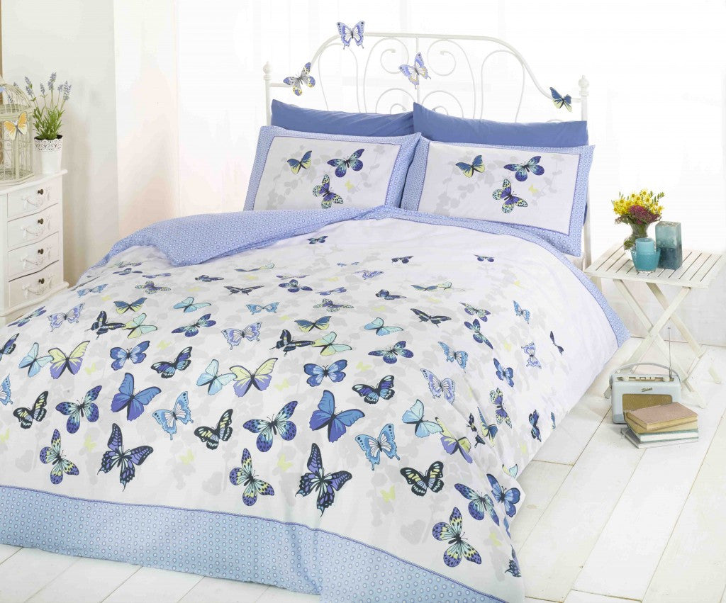 White and blue bedding with blue butterflies