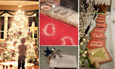 Collage Of Santa Footprints, Note From Santa, Bright Christmas Tree