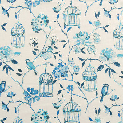 Blue and cream fabric swatch