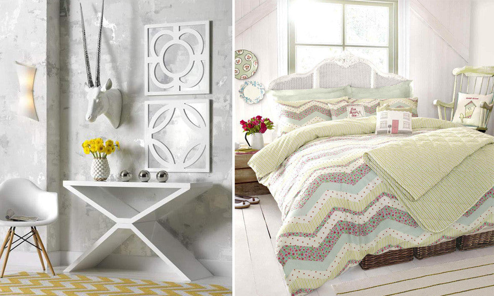 Two photos next to each other, left: white dressing table with x-frame legs in a grey room, right: zigzag striped bedding in white, light green and duck egg blue