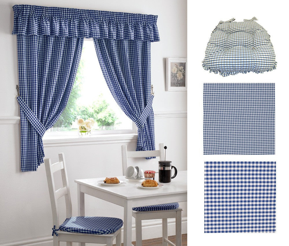 Gingham kitchen curtains in dark blue