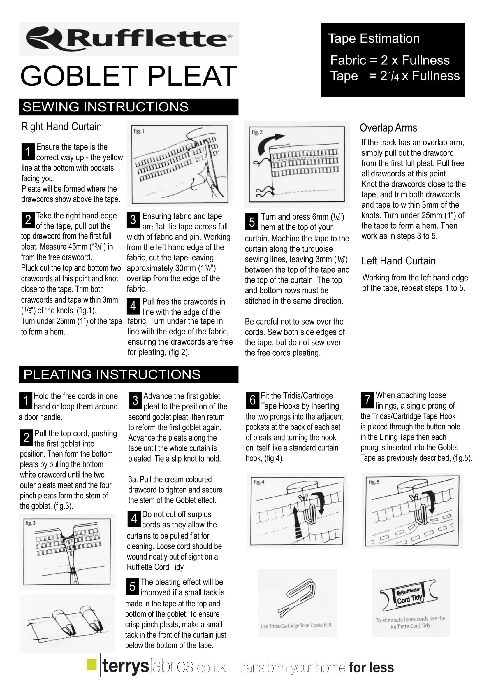 Goblet Pleat Fitting Instructions