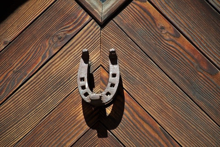 An iron horseshoe nailed onto a wooden plank board