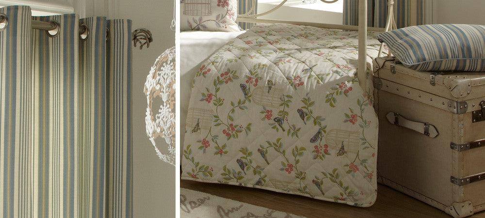 Striped eyelet curtains on the left and cream bedrunner with birds and leaf design