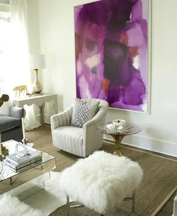 Purple abstract floral canvas in a white and cream living space