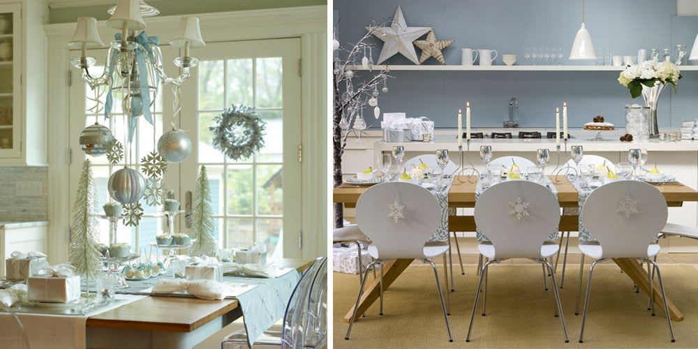 Festive Kitchen And Dining Room With Silver Decorations