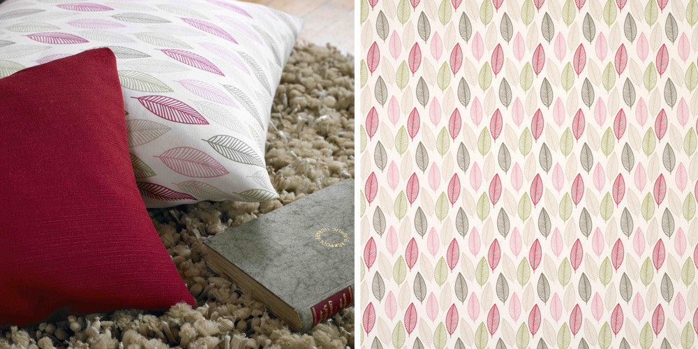 Cream pink and beige leaf pattern on a cushion and on a fabric swatch