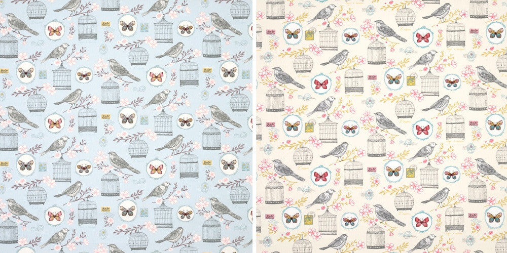 Collage of two fabrics, with bird and birdhouse, one in blue and one in cream
