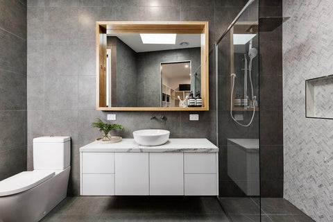 Modern grey and white bathroom, with floating sink