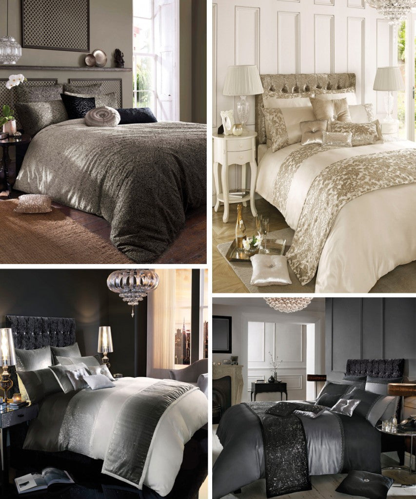 Collage of four different beds, one in brown, then cream and gold, then grey and white, then black and grey