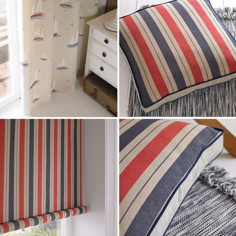 Nautical sailing cream curtains and red and blue striped blinds and cushions