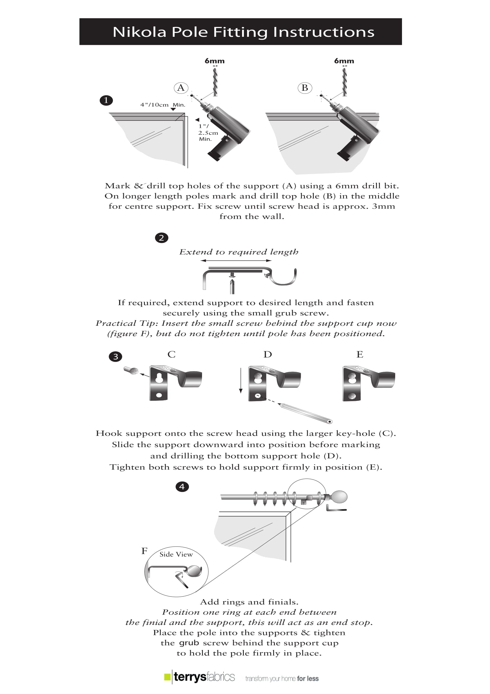 Nikola 28mm Curtain Pole Product Details And Nikola Fitting Instructions Three
