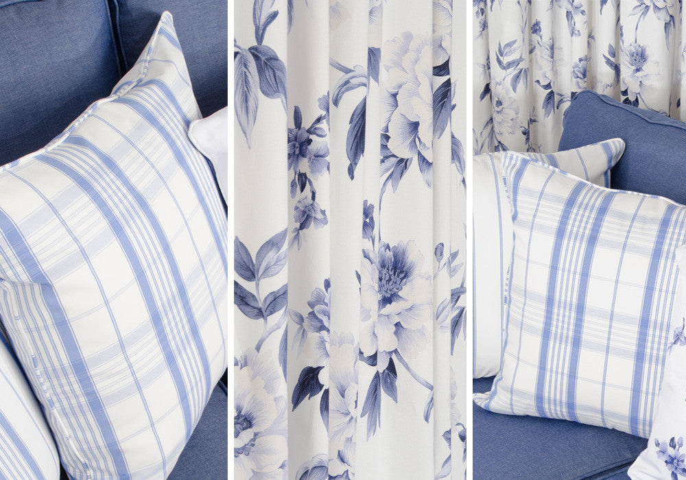 Collage of three uses of light blue and white fabric, checked cushions and floral curtains
