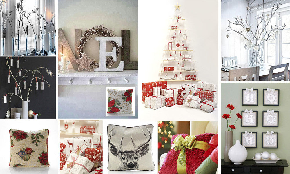 Collage of ten different photos, showcasing different festive decor and ornaments