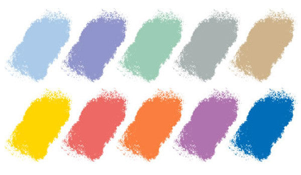 Palette of different colours on a white background