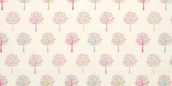 Cream orchard fabric with pink and blue trees