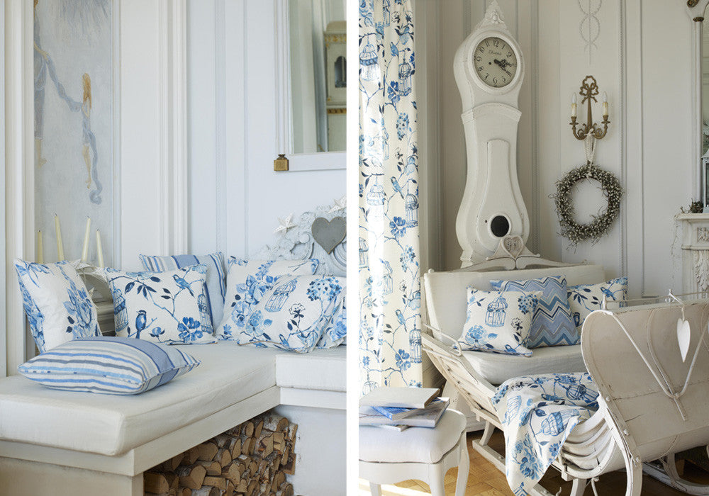 Collage of two light blue and white interiors, left a window bench, right a sofa and grandfather clock