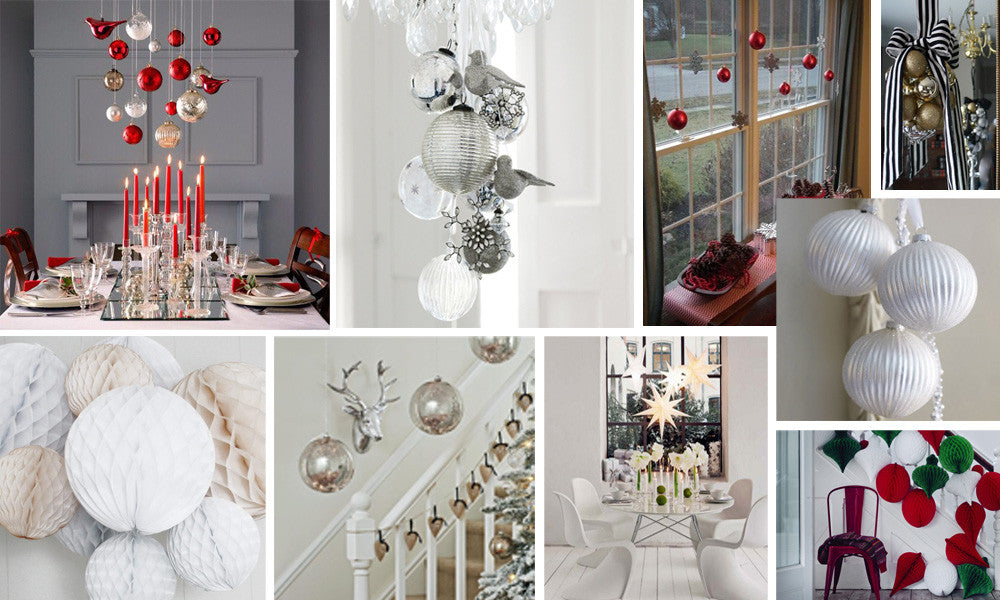 Collage of oversized baubles in different colours, used to create a festive look in the home