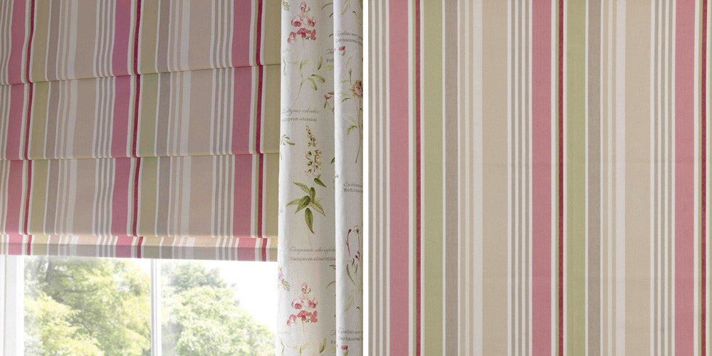 Striped pink, cream and beige roman blind, then a close up of the fabric